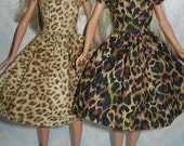 "Handmade 11.5"" fashion doll dress -   Your choice - choose 1 - beige or brown animal print vintage style dress"