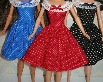 "Handmade 11.5 "" Fashion doll dress - Choose 1 - black, red, blue or orange and white polka dot dress with lace trim"