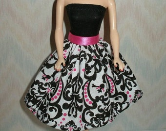 Handmade Barbie clothes - black, pink and white print dress