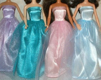 """Handmade 11.5"""" Fashion doll clothes - Satin and Glitter Tulle gown with boa - Choose your color"""