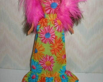 """Handmade 11.5"""" Fashion doll clothes - green, blue, orange and pink floral gown with pink boa"""