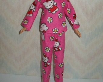 """Handmade 11.5"""" fashion doll clothes - pink and white kitty pajamas"""