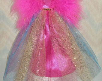 "Handmade 11.5"" fashion doll clothes - bright pink satin and glitter tulle gown with boa"