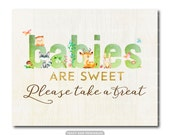 "Take a treat sign | Green Woodland Baby Shower Decor |  Printable 8"" x 10"" sign  Instant Download 0498green"