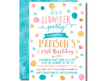 13th Birthday Invitation, Slumber Party, Sleepover, Blue & Pink Pyjama Party, Tweens Teenage Party Invitation. Printable. DIY 1537