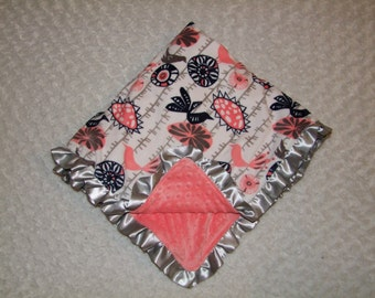 MINKY Coral Mocking Birds- Blanket- Ships in 1-3 Business Days