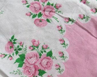 Vintage Pink Roses Border Print Fabric