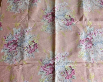 Beautiful Floral Vintage Barkcloth Fabric Piece-Nubby-Roses-36x52