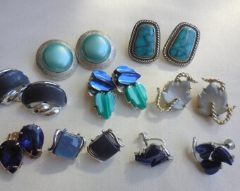 Lot of 8 Pairs of VINTAGE BLUE Plastic and Thermoset EARRINGS Some Signed