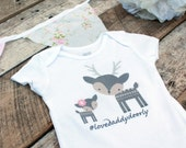 NEW Love Daddy Deerly Onesies®, Baby Girl Onesie, Daddy and Daughter, Deer Onesie, Woodland Baby, New Dad, Cute Baby Clothes, Baby Outfit