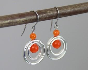 Small Bright Orange Drop Dangle Earrings - Bright Orange Stone Silver Circle Small Petite Modern Simple Earrings