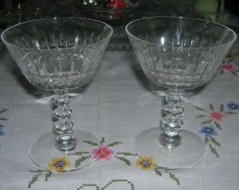 2 Tiffin Crystal Champagne/Tall Sherbets Williamsburg Pattern Circa 1950's