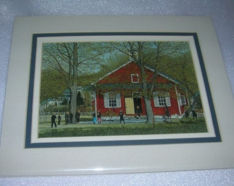 Vintage Thelma Winter Triple Matted Print School Days, Lancaster, PA, C 1987