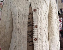 Vintage 1950s 1960s Sweater Button Down Cardigan Wool And Nylon Cable Knit Made In Italy Expressly For Boston Store Milwaukee