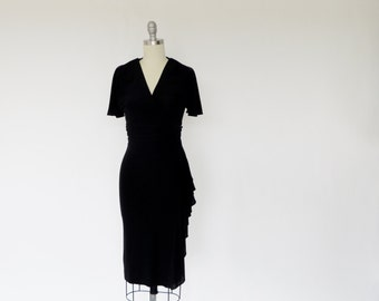 Vintage Wrap Dress / 1970s Dress / 1940s Dress Style / Black Dress / Jersey Dress Cocktail Dress