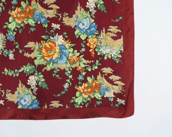 Vintage Liberty Scarf / Designer Scarf / Liberty of London Scarf / Silk Scarf / Floral Scarf / Red Blue Burgundy