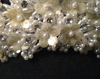 Vintage 1990-Bridal Crown/Pearl Beaded Crown Tiara/Wedding Bride Bridal Headpiece