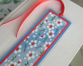 Aqua Blue and Red Laminated Bookmark Floral Japanese Washi