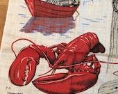 Linen Tea Towel Lobster, Boats, Seagull by Kay Dee