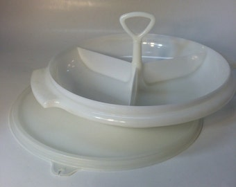 Tupperware Suzette Three Section Divided Serving Dish Tray with Handle and Lid - White