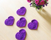 Violet purple heart shaped coasters - set of 5 crocheted with 100% Peruvian highland wool - decor gifts under 25