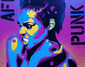 1 DIGITAL DOWNLOAD of Afro Punk painting,stencil art,pop art,abstract,graffiti,large,woman,wall art,rainbow,strong,artist,rebel,stripes