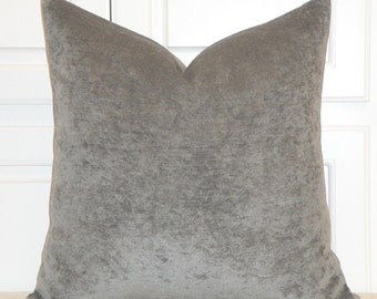 DOUBLE-SIDED - Grey Chenille Velvet Decorative Pillow Cover - Accent Pillow - Chair Pillow - Cushion Cover