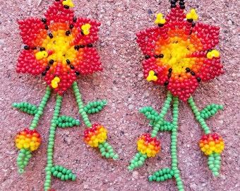 Floral Red Flower Glass Seed Beaded Earrings