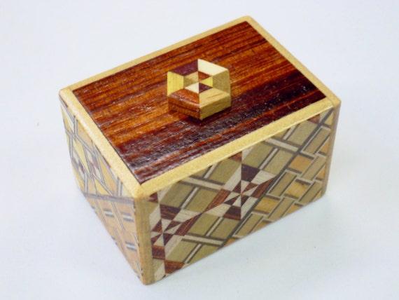 Solid Hexagon Mosaic Mame (1.7inch) 10steps Kawaii Japanese Puzzle Box (Himitsu bako)