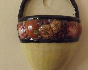 Ceramic Fruit Basket Wall Pocket  Vintage