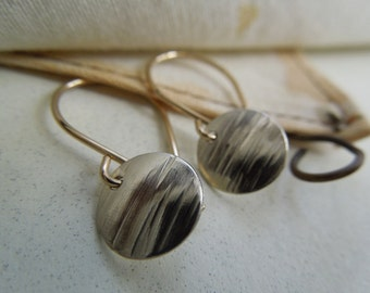 Petite Fine Silver and 14 Kt. Gold Filled Textured Disc Earrings-Textured Petite Round Metal Swank In Silver and Gold