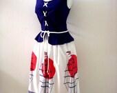 Vintage 70s 80s Novelty Sun Dress - Red White Blue Nautical Dress with Ships - Peplum Corset Style Dress - Size Medium 11 12