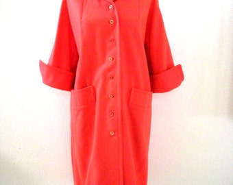 Vintage 1960s Coral Coat - Milli-Spun by Dumas Coat - 3/4 Sleeve 60s Coat - Rockabilly Coat - Size Medium