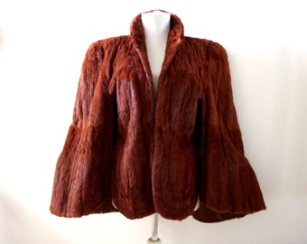 Vintage 40s 50s Brown Fur Cape - Brown Fur Stole by Richland Furs - 1940s Mink Fur Evening Cape - Old Hollywood Glam - Size Small to Medium