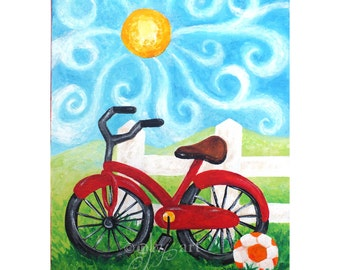 Bike on a Fence, Art for kids rooms, whimsical acrylci painting