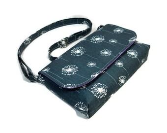 Small Cross Body Purse, Mini Messenger Bag, Fabric Handbag, Small Shoulder Bag, Pocketbook, Dark Gray Dandelion Bag, Small Handmade Purse