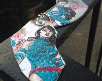 The Ninja Brit - hand-painted Psylocke glitter earrings - X-Men