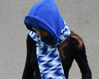 Upcycled Recycled Sweater Hooded Scarf Handmade Variegated Navy Royal Blue Shades Bright Hippie Boho Hipster Winter Fashion