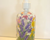 Hand Painted Glass Liquid Soap Lotion Dispenser Bottle Hand Pump Wild Flowers Bumblebees Butterflies Red Blue Purple Yellow Pink Mushrooms