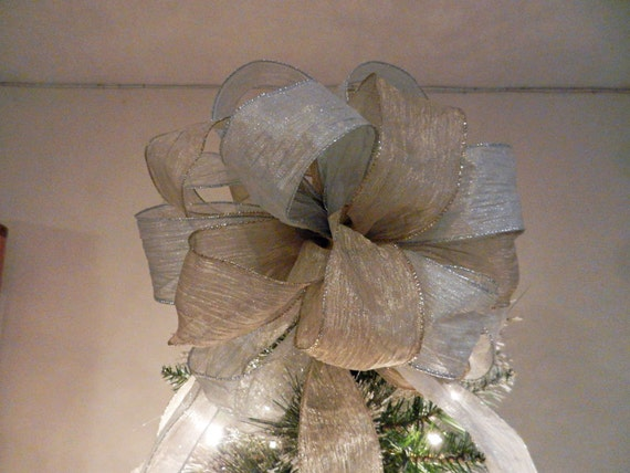 Large Champagne Gold And Silver Christmas Tree Topper Bow