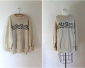 50% OFF...last call // vintage novelty wool sweater - TABBY CATS cat print pullover / l-xl