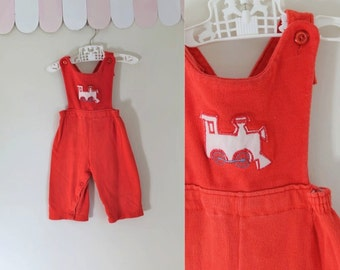 vintage boy's romper - STEAM ENGINE red cotton ribbed overalls / 12M