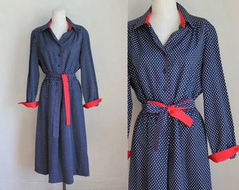 vintage 1970s polkadot dress - MAYBE NAVY red & white dotted day dress / M