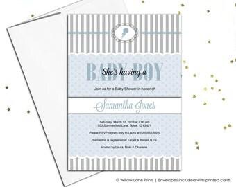 baby boy baby shower invitation - blue and gray baby shower invite printable invitation - baby boy shower invites - WLP00777