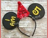 Happy Birthday Mouse Ears Headband by Twincess Bowtique - CUSTOM