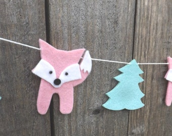 Pink Fox Peppermint Forest Garland, Fox Bunting, Fox Gift, Fox Nursery, Woodland Nursery Garland, Pink and Peppermint decor, Fox Baby Shower