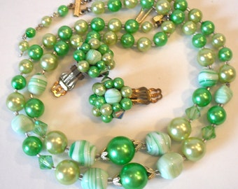 Vintage Green Hued 1950's Earring and Necklace Set