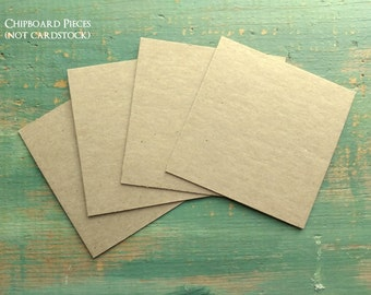 "100 4""x4"" Chipboard Squares: Rustic Kraft Brown Display Cards Recycled 4x4 (102mm) 22 pt (.022""), 30 pt (.030""), 50pt (.050"") or 22pt White"