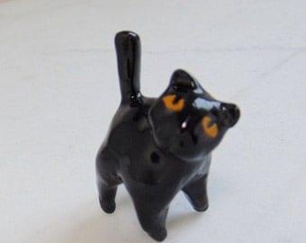 Terrarium Black Cat - Handmade Miniature Figurine - Black Cat Miniature - Terrarium Miniature - Black Ceramic Cat Figurine