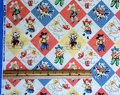 OOP Michael Miller Yippee retro style western cowboy and cowgirl fabric sold by the yard
